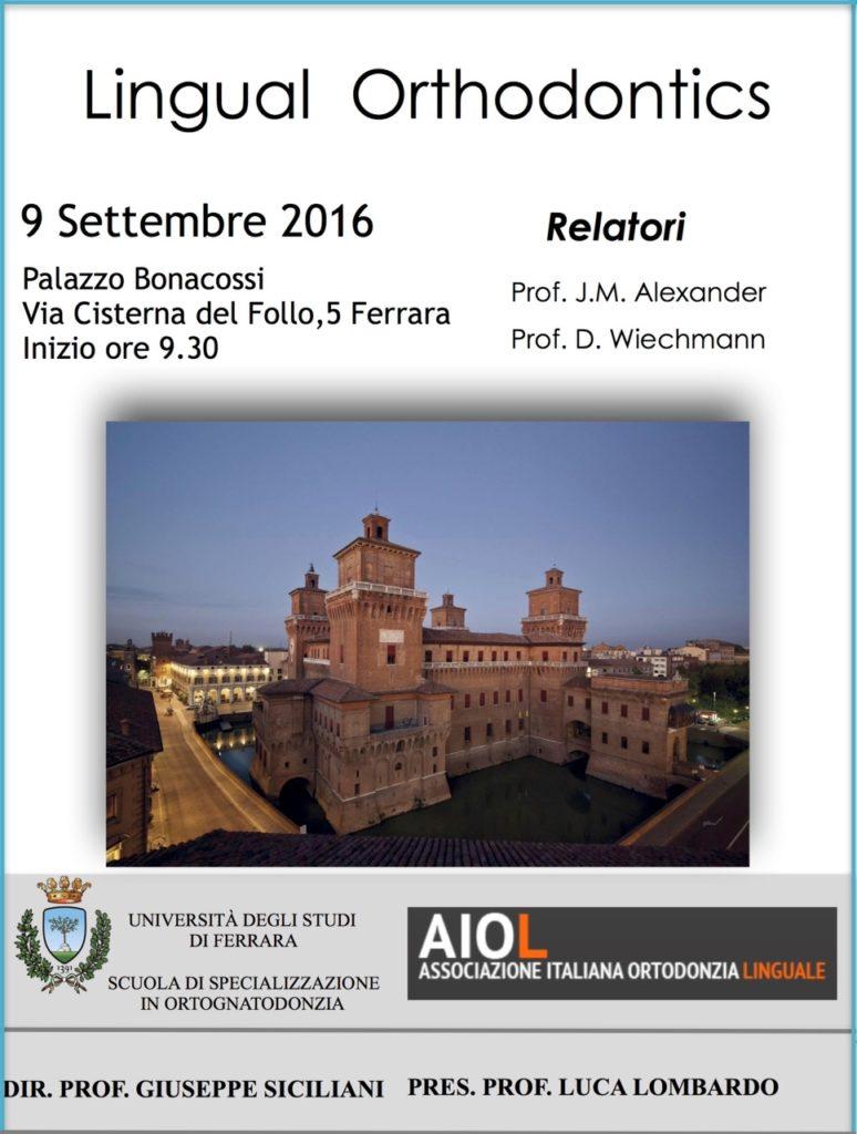 corso Lingual Orthodontics _Ferrara, 9 settembre 2016